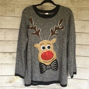 HOLIDAY TIME 2X GRAY RUDOLF SWEATER